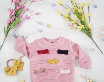 Baby Hoodie, baby sweatshirt, bow hoodie, spring sweater, blush hoodie, blush sweatshirt, baby clothes, kids sweater