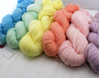What the Fade?! Fade Kit - Plush Fingering 100% superwash merino yarn - Pastel Rainbow