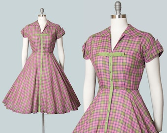 Vintage 1950s Dress | 50s Plaid Cotton Shirtwaist Pink Green Tartan Rhinestone Button Down Circle Skirt Day Dress (small)