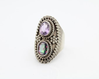 Vintage Sterling Silver Amethyst and Watermelon Crystal Tribal Style Ring Sz 7. [6629]