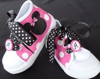 Minnie Mouse High Top Shoes w/Polka Dot Laces & Monogram Clips