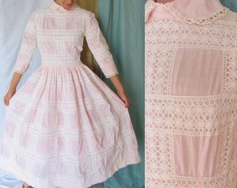 Vintage Pin Up Dress, Cotton Lace, Peter Pan Collar, Full Skirt, Pink White, Rockabilly, 50s 60s