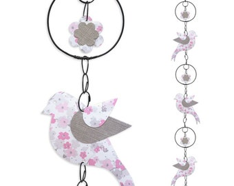 Wire - coloured Garland - pink - bird wall hanging