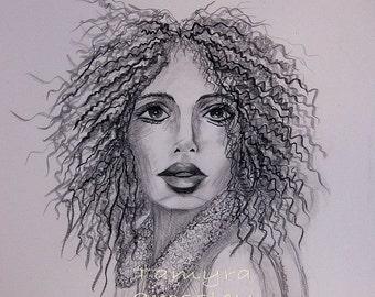 Perrrfect ORIGINAL Pencil Drawing Sketch by artist Tamyra Crossley.  11 x 14.