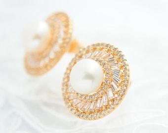 Bridal stud earrings Pearl bridal earrings Wedding pearl earrings Round stud earrings Bridal jewelry