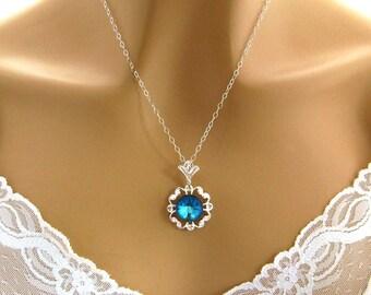 Bridesmaid Necklace, Blue Bridesmaid Jewelry Blue Bridesmaid Gift Ocean Blue Bridesmaid Necklace Swarovski Gift, Ocean Blue Wedding Jewelry