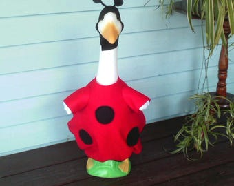 Goose Clothing - Ladybug Goose Outfit for Plastic or Concrete Lawn Goose