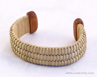 Walnut Woven Cuff Bracelet - Nantucket Basket