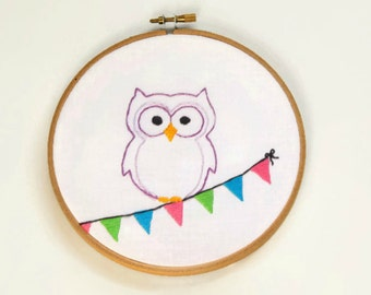 Embroidery Kit - Gift Set, Skill Level 2, Owl Design