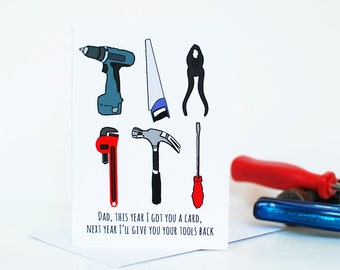 Father's Day card tool themed for Dad - funny card for Father's Day.