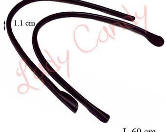 2 faux leather 60 cm #330083 brown bag handles