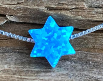 Star of David Opal Necklace or Bracelet - Light Blue - Hanukkah Gift, Bat Mitzvah Gift, Judaica Jewelry