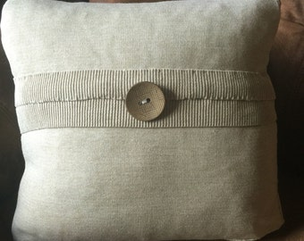 Upcycled Sweater Pillow, Unique & Neutral, 18""