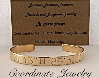 Gold latitude longitude coordinates cuffs pin one of our listings on Pinterest to receive 25% discount code custom jewelry personalized gift