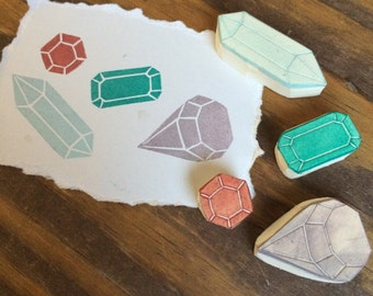 Hand Carved Faceted Crystals Rubber Stamp Set