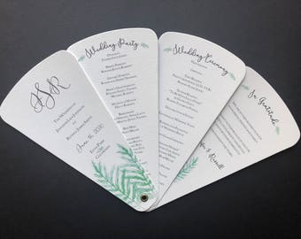 Watercolor Leaf Wedding Program Petal Fan