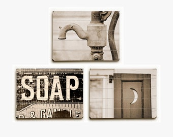 Sepia Bathroom Decor Wood Sign Set: Sepia Bathroom Art Set of 3 Wood Planks, Vintage Sepia Bathroom Wall Art Set, Rustic Bathroom Decor.