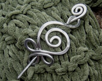 Celtic Budding Spiral Aluminum Shawl Pin, Scarf Pin, Sweater Brooch, Fastener, Knitter Mother's Day Gift, Irish Knitting Accessory, Women