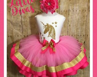 Unicorn tutu, unicorn party dress, unicorn birthday tutu, gold unicorn, pink and gold unicorn, unicorn party
