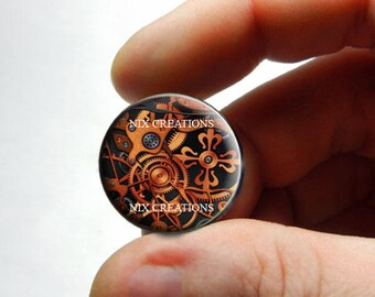 25mm 20mm 16mm 14mm 12mm 10mm or 8mm Glass Cabochon - Steampunk Gears 2 - for Jewelry and Pendant Making