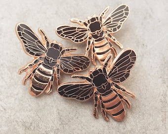 Gold Honey Bee Lapel Pin | Hard Enamel Bug Pin, Artist Pin, Insect Jewellery, Bee Pin, Black and Gold Enamel