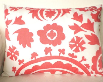 Coral Pillow Cover,  Decorative Throw Pillows Cushion Covers Coral White Suzani Lumbar, Couch Bed Sofa Pillow, One 12 x 16 or 12 x 18