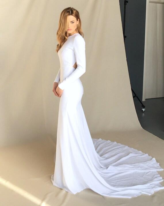 Moderne Krepp Hochzeit Kleid minimalistisches Brautkleid
