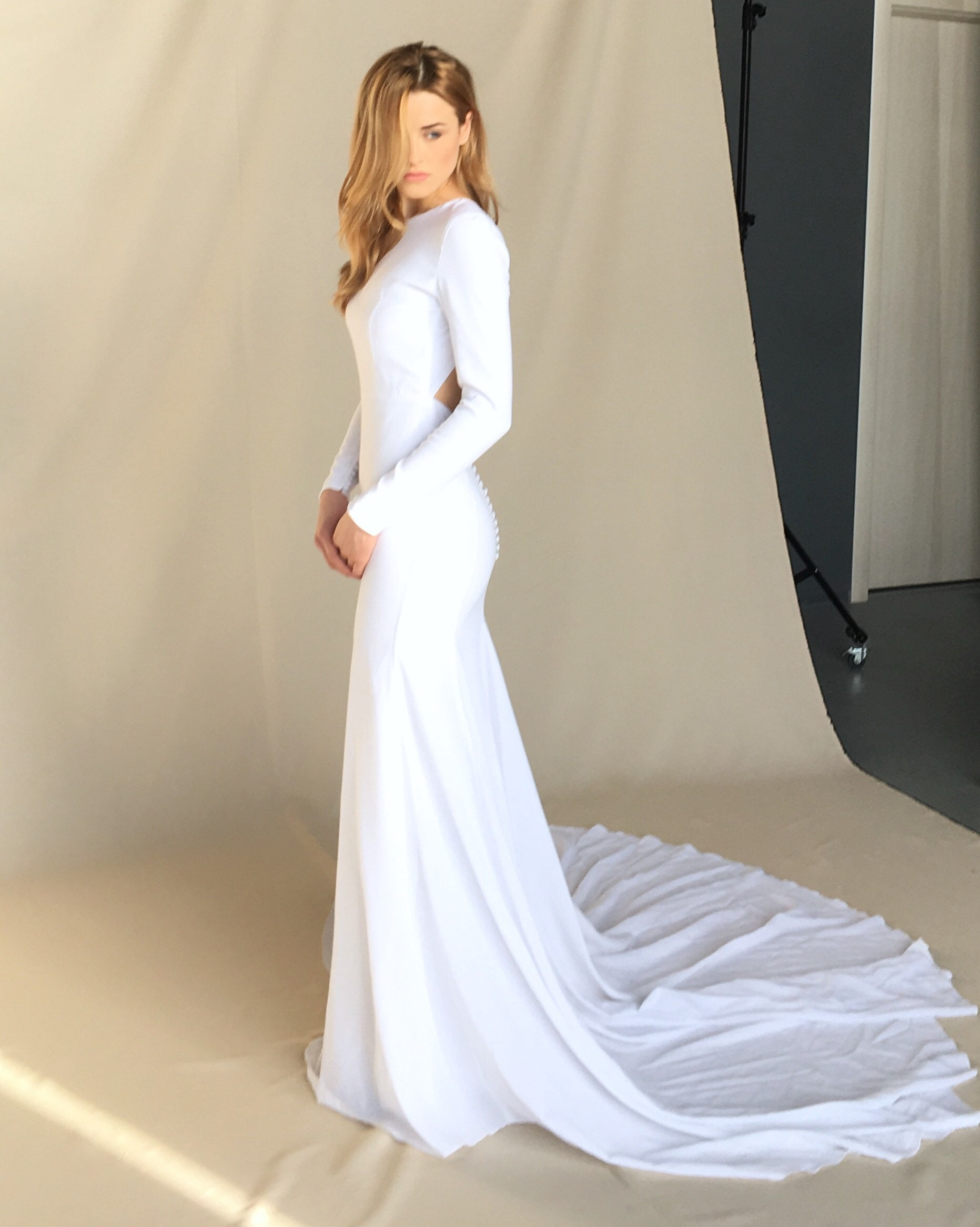 Modern crepe wedding dress Minimalist bridal gown Simple