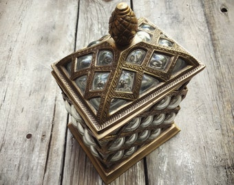 Lattice Bubble Glass Etched Brass Lidded Box, Hollywood Regency, Stash Box, Caged Glass