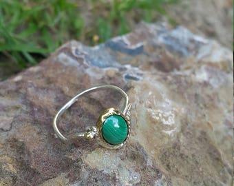 Malachite Ring Handmade & Silver