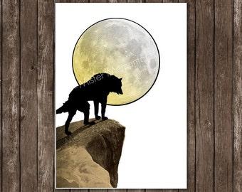 Wolf moon art, howling wolf print