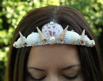 Mermaid crown, seashell crown, bridal crown, mermaid tiara, seashell tiara, mermaid costume, halloween costume, wedding crown, engagement.