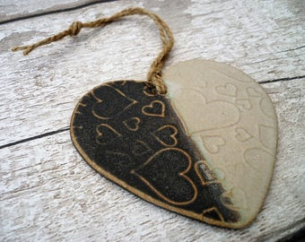 FREE SHIPPING- Loveheart Hanger, lovehearts, gift idea, one off hand made pottery