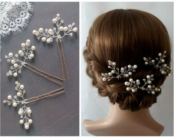 Bridal Hair Pins Wedding Hair Pins Bridal Hair Pieces, Pearl Hair Pins Hair Pins Wedding, Pearl Wedding Hair Pieces Bridal hair pins Crystal