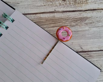 Pink Donut. Planner clip. Bookmark. Travelers notebook accessorie. Small page marker. Tokidoki