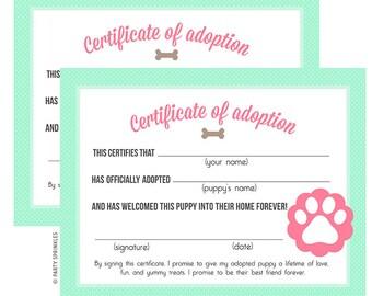 Mint & Pink Puppy Birthday Party Adoption Certificates - DIY Printable Digital Design
