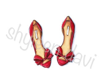 Bowtied Red Heels Fashion Illustration Print