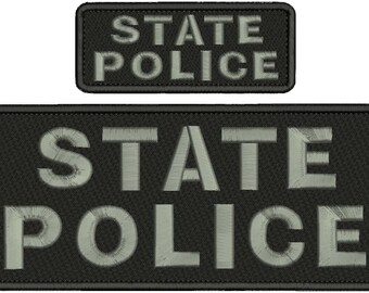 State Police Embroidery Patch 10x4 and 5x2 inches Hook backing grey letters