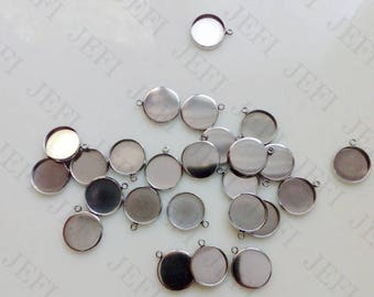 50 Pendant Trays 316L Stainless Steel 6mm/ 8mm/ 10mm/ 12mm/ 14mm/ 16mm/ 18mm/ 20mm Round Bezel Setting W/ Ring Wholesale
