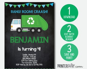 Editable Trash Truck Invitation, Garbage Invitation, Recycle Birthday party, Garbage truck invite, DIGITAL, INSTANT DOWNLOAD, Chalkboard
