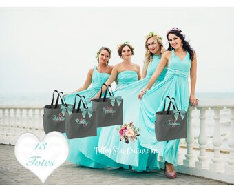 13 bridesmaid tote bags , bridesmaid gifts , tote bag , beach bag , bachelorette party gift ,wedding bag , maid of honor