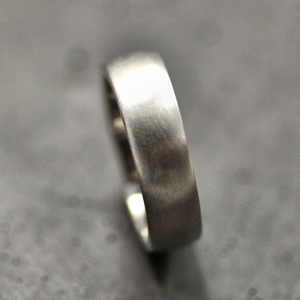 White Gold Wide Mens Wedding Band Brushed 7mm Low Dome 14k