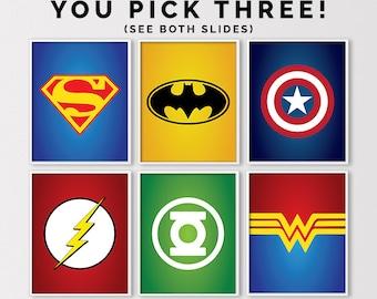 Superhero Nursery, Super Hero Prints, Marvel Prints, Justice League, Superhero Prints, Super Hero Birthday Printables, Digital Download