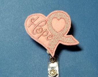 Heart - Hope Breast Cancer Ribbon Badge Reel