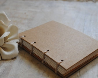 Handmade Mini Journal, Coptic Binding, Travel Log, Gratitude Journal, Pocket Sized Book, Blank Sketchbook