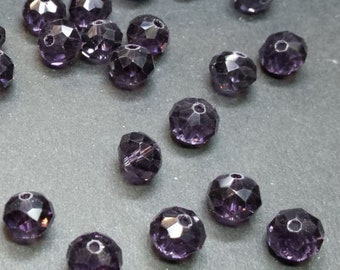 20 8x6mm faceted indigo purple glass beads
