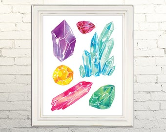 GEMS Printable Art Print Poster Watercolor Illustration Wall Art Decor Stone Nature Crystals Gemstones Minerals Rocks Boho  5x7, 8x10, 11x14