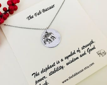 Silver Elephant Necklace, Animal Jewelry, Good Luck Jewelry, Elephant Jewelry, Lucky Charm, Elephant Necklace, Graduation Gift For Her