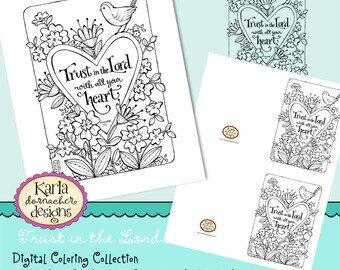 Trust in the Lord INSTANT DOWNLOAD Coloring Collection Scripture Christian Coloring Cards Digi Stamp Color Page Digital Printable KD135