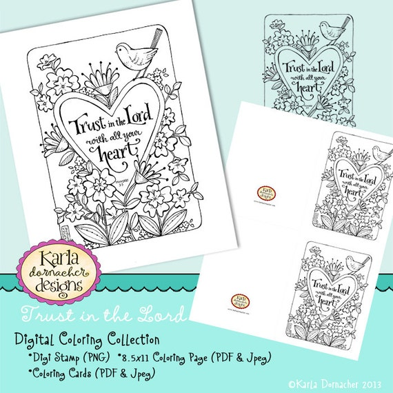 Trust In The Lord INSTANT DOWNLOAD Coloring Collection